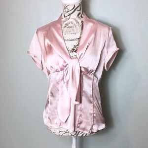 Agora pink blouse size medium tie front